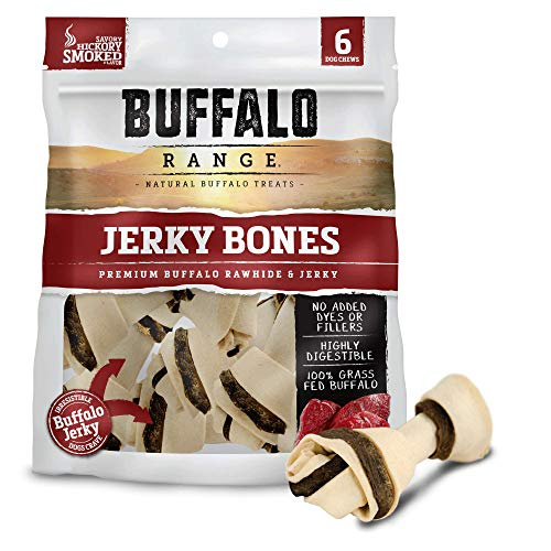 Buffalo Range Rawhide Dog Treats | Healthy, Grass-Fed Buffalo Jerky Raw Hide Chews | Hickory Smoked Flavor | Jerky Bone, 6 Count ()