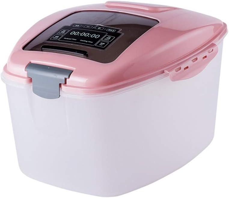 フードストッカー 保存容器 ドライ食品保存容器BPAフリー小麦粉、米ディスペンサー、ペットフード保存容器、ドッグフードビン、蓋すくう2個の大型コンテナ 食品貯蔵タンク (色 : ピンク, サイズ : Free)