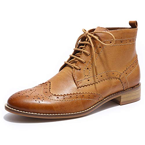 Mona flying Womens Leather Wingtip Boots Ankle Heels Fashion Lace up Booties with Low Heel Brown