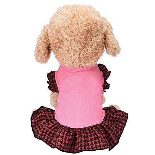 Elogoog Vintage Plaid Pet Clothes Dog Dress Ruffles Dog Vest Summer Spring Puppy Shirts Apparel (Pink)