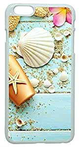 Generic Blue Wood Seashells Sea Star Hard Case for iPhone 6 Plus White