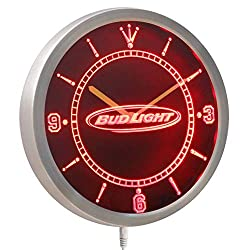Time2LightUp Bud Light Beer Neon Sign LED Wall Clock 10 Inches Round LED Neon Wall Clock Red