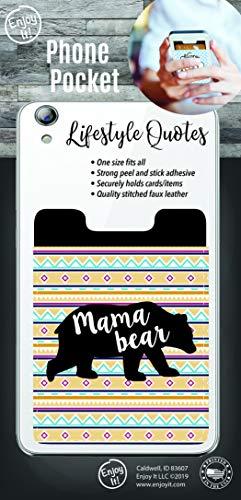 Enjoy It Mama Bear Phone Pocket - Peel and Stick Phone Wallet Credit Card Holder for Smartphones