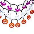 LUCKLED Set of 3 Battery Powered Halloween String Lights, 20 LED Fairy Decorative Lights for Indoor and Outdoor Decorations - White Ghost / Orange Pumkin / Purple Bat
