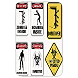Rectangular Area Rug Mat Rug,Zombie Decor,Warning Signs for Evil Creatures Paranormal Construction Do Not Open Artwork,Multicolor,Home Decor Mat with Non Slip Backing