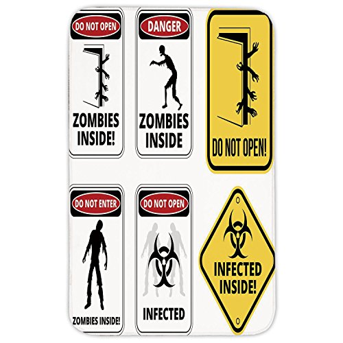 Rectangular Area Rug Mat Rug,Zombie Decor,Warning Signs for Evil Creatures Paranormal Construction Do Not Open Artwork,Multicolor,Home Decor Mat with Non Slip Backing by iPrint