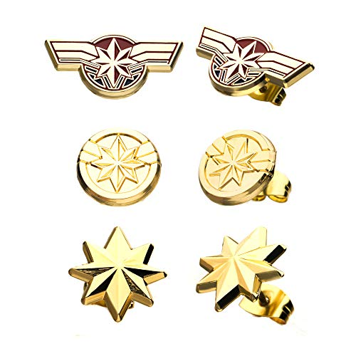 Marvel Captain Marvel Stud Earrings Set