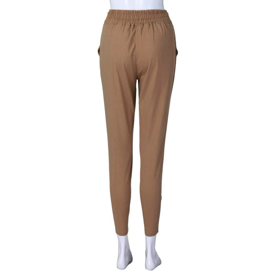 LUCKYCAT,Pantalon Long Imprim/é Femmes D/écontract/ée Bandage Boh/ême Taille /élev/ée Couleur Unie Bandages Pantalons de Foot Mode 2018