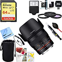 Rokinon 50ME 50mm F1.4 Lens for Sony E Mount + 64GB Ultimate Filter & Flash Photography Bundle