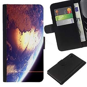 Sony Xperia Z4 / Sony Xperia Z4V / E6508 , la tarjeta de Crédito Slots PU Funda de cuero Monedero caso cubierta de piel ( Space Earth Sun Blue Planet Cosmos Star)