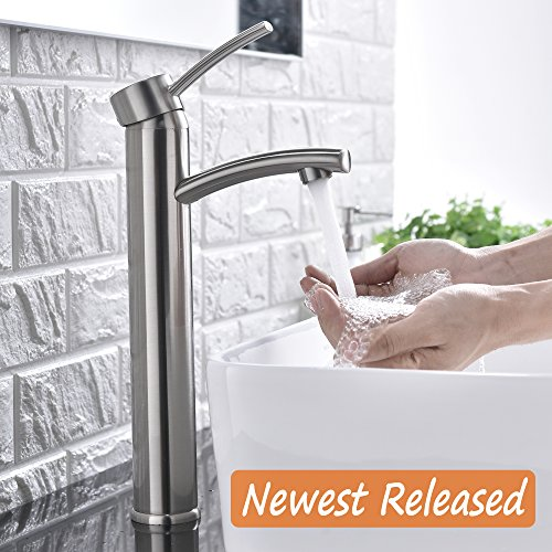 Contemporary Vessel Faucet (Comllen Contemporary Single Handle Brushed Nickel Tall Vessel Sink Bathroom Faucet, Vessel Faucet Brushed Nickel)