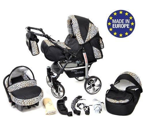 Baby Sportive X2, 3 in 1 Kombikinderwagen set - incl. Kinderwagen mit Zubehör, Babyschale und Sportwagen Aufsatz. System mit Schwenkräder. Reisesystem Farbe: Schwarz und Leopard