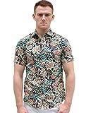 uxcell Allegra K Men Slim Fit Floral Print Short Sleeve Button Down Beach Hawaiian Shirt