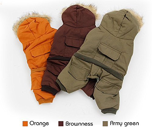 PAWZ Road Pet Clothes Hoodie Dog Winter Coat Warm Jacket Super Warm and Strong Orange S by PAWZ Road (Image #4)