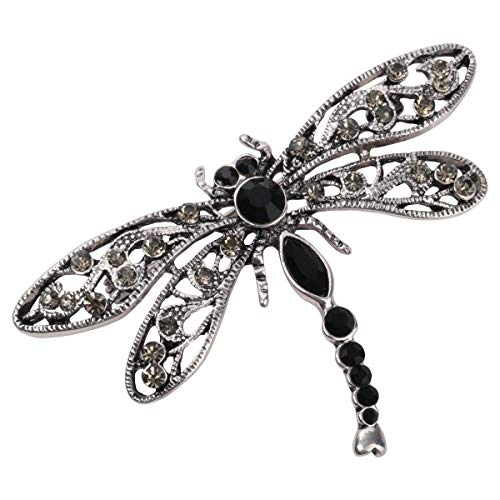 Hiddlston Crystal Dragonfly Custom Collection Stretch Antique Statement Dome Butterfly Flower Wide Band Lavender Ring Halloween Christmas Costume Accessories Jewelry Gift Women Girl (Black) ()