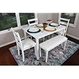 4 Person 5 Piece Kitchen Dining Table Set 1 Table 3 Leather Chairs 1 Bench White J150232white