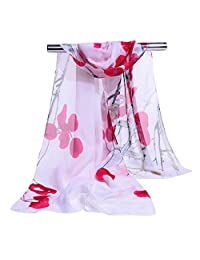 GERINLY Elegant Women Scarves Pretty Flowers Print Sheer Scarf