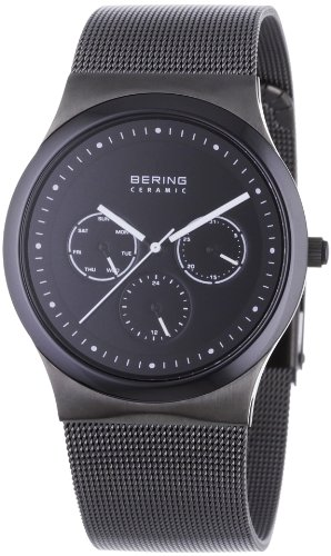 BERING Time 32139-302 Men's Ceramic Collection Watch with Mesh Band and scratch resistant sapphire crystal. Designed in Denmark.