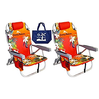 2 Tommy Bahama Backpack Beach Chairs/ Red + 1 Medium Tote Bag