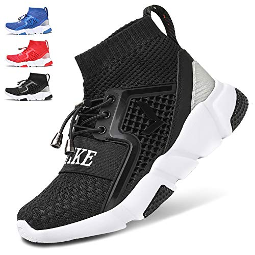 WETIKE Kids Sneakers Boys High Top Athletic Gym Shoes Lightweight Comfortable Tennis Shoes Slip on No Laces Trainers Shoes Soft Knit Youth Shoes Big Little Kids Black Size 5