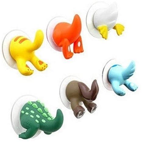 Quner 6pcs Forma de Animal en 3D, Cola, Toalla de Mano Ganchos Gancho Ventosa