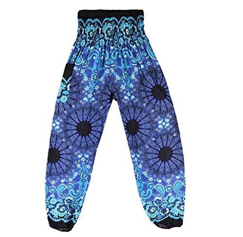 Harem Tempo Damigella High Elegante Pantaloni Blau Stampate Pluderhose Estivi nbsp; Stoffa Di Vintage Pantaloni Libero Accogliente Donna Baggy Waist Pantaloni Aladin Pantaloni Pants 6xUqf4ww