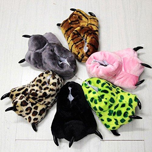 Tonwhar Dier Poot Klauw Schoenen Fuzzy Namaakbont Warm Nieuwheid Kostuum Pantoffels Grijs