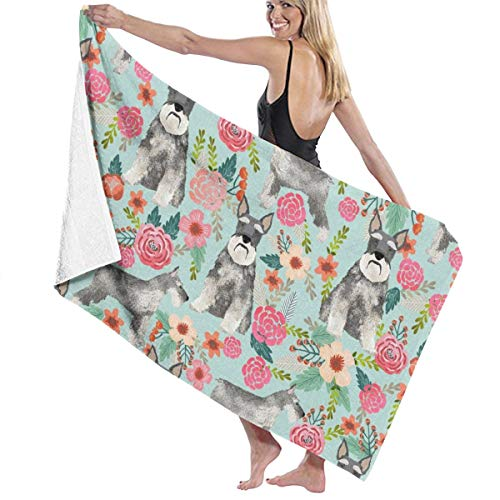Schnauzer Floral Dogs with Cropped Ears Design Cute Mini Schnauzers Light Blue Large Towel Blanket for Travel Pool Swimming Bath Camping Yoga Girl Women Men 32 X 52 Inch ()