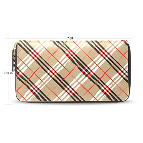 Women Red Plaid Background...