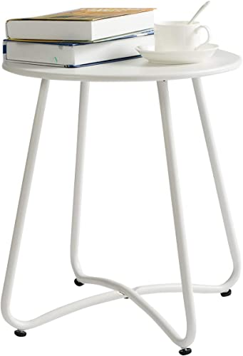 HollyHOME Small Round Patio Metal Side Snack Table