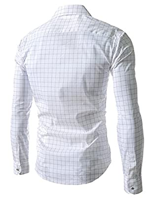 Sexymee Men Business Casual Plaid Slim Fit Dress Shirts Long Sleeves Button Down Shirts