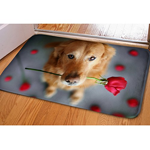 Soft Hallway Entrance Welcome Mat Rose Golden Retriever Print Doormat For Bedroom Kitchen Dorm Funny Indoor Small Non Slip Rug Cabin Doorway Front Door Mat Bibulous Quick-dry Bathroom Floor Carpet (Mat Coir Rose)
