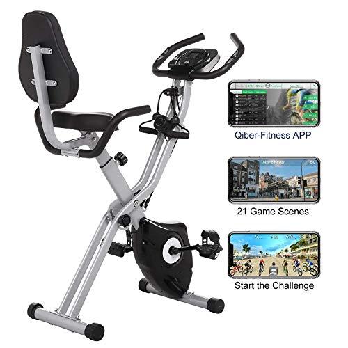 🥇 Profun Bicicleta Estática Plegable de Fitness con Respaldo Xbike con App Pantalla LCD 10-Niveles Ajustable para Ejercicio Entrenamiento en Casa
