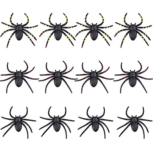 Frienda 12 Pieces Halloween Scary Spider Fake Spiders for Halloween Party and Costume Decorations, Party (Scary Halloween Pranks)