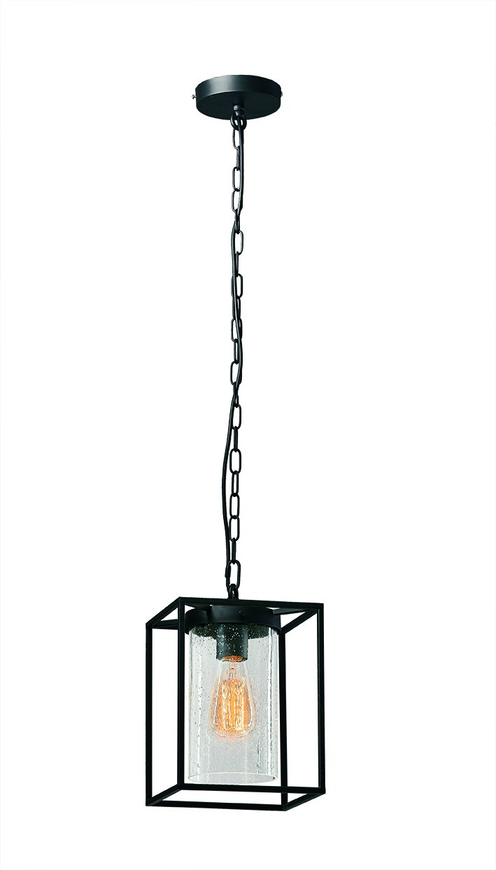 Viokef Lighting 4134600 Während Matty, Metall Glas, E27, schwarz, 20 x 20 x 100