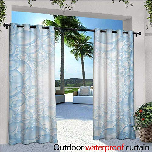 homehot Nursery Fashions Drape Bubble Bath Soap Suds Floating Circular Foam Spheres Aquatic Artwork Print Outdoor Curtain Waterproof Rustproof Grommet Drape W72 x L108 Blue and White