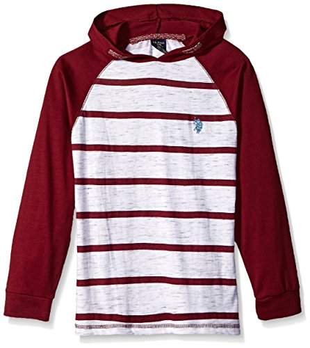 U.S. Polo Assn. Boys' Toddler Long Sleeve Striped Crew Neck T-Shirt, Hooded Color Block Winter White, - Hooded Shirt Toddler Boys