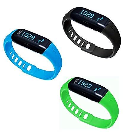 ADE Actividad Tracker Am con fitvigo App, Unisex, Aktivitätstracker Am 1600 FITvigo, Schwarz INKL. 2 zusätzliche Armbänder in grün & Blau, ...