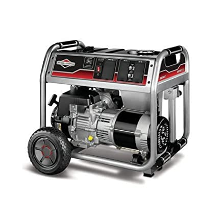 Briggs & Stratton Generator with Wheel Kit(Discontinued 30467 5,000 Watt  342cc Gas Powered Portable Generato, 5000, Silver Metallic