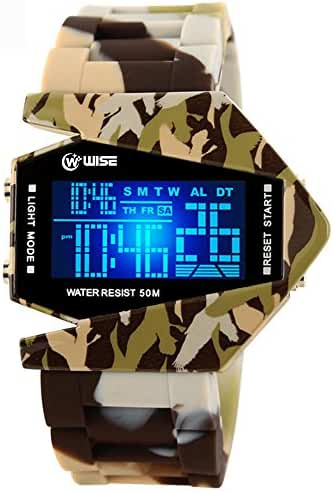 Boys Watch, Led Watch, Digital Watches Light Sport Waterproof Military Stealth Fighter Style Wrist Watches (Yellow Camouflage)