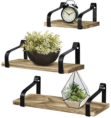 - Greenco Rustic Wood Wall Mounted Floating Shelves (Set of 3)