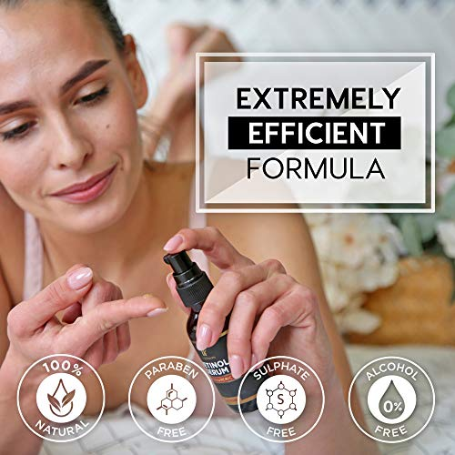 51kaxqQQS L - Retinol serum for face (2oz) with Hyaluronic Acid + Vitamin A and E + Aloe Vera Anti aging moisturizer - Fade Dark Spots - Clinical Strength Formula
