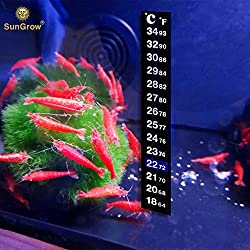 Stick-on Thermometer for Shrimps -- Provides accurate temperature - Assists in Breeding and keeping Shrimps healthy - Easy set up - Just Peel and Stick to Install