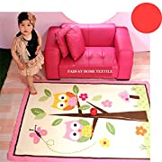 FADFAY Home Textile,Unique Cartoon Owl Carpet,Designer Pink Fairy Girls Rug For Living Room,Delicate Butterfly Kids Rug
