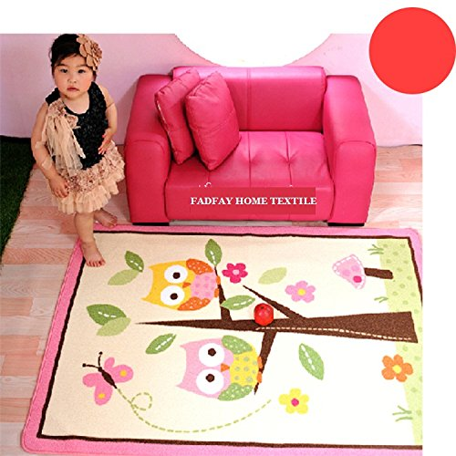 FADFAY Home Textile,Unique Cartoon Owl Carpet,Designer Pink Fairy Girls Rug for Living Room,Delicate Butterfly Kids Rug ()