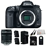 Canon EOS 7D Mark II Digital SLR Camera (Body Only) Accessory Kit. Includes 18-135mm f/3.5-5.6 IS STM Lens + 32GB Memory Card + 2 Extended Life Replacement Batteries(LP-E6N) + Charger + Mini HDMI Cable + Wireless Remote + Microfiber Cleaning Cloth
