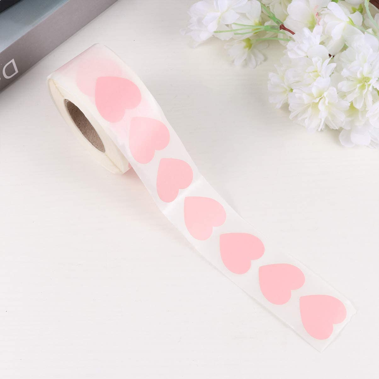 Amosfun Pink Love Heart Stickers Seal Label DIY Bag Self-Adhesive Sealing Stickers for Biscuit Candy Bag Packaging Envelope Valentines Day Party Supplies 1000 Pcs