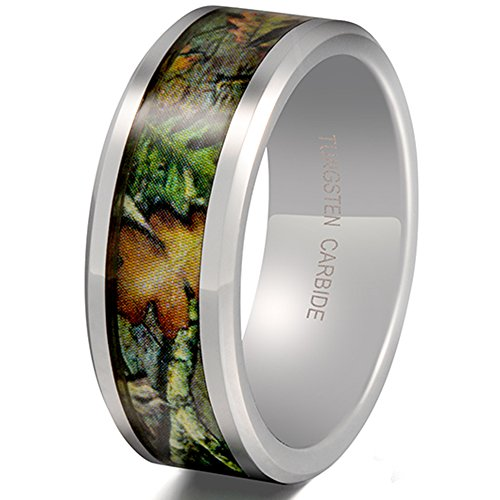 Beveled Palladium (Mens Womens 8mm Tungsten Carbide Leaf Green Pattern Camouflage Engagement Wedding Ring Hunting Camo Band Size 9)