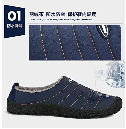 SPEEDEVE Winter Warm Slippers Fur Lined Anti Slip Cotton Shoes House Slippers Indoor Outdoor Slippers for Women Men Blue LSHMPTu