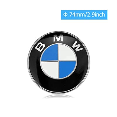car sales 74mm BMW Emblem, 2 Pin Replacement Badge Hood or Trunk Logo Fit for BMW 3-Series, 5-Series, 6-Series, 7-Series, X1, X5 (74mm): Automotive